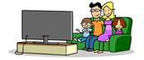 Familie mit zwei Kindern beim Fernsehen vor TV Fernseher