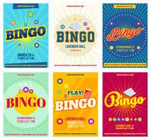 Bingo Lottery Posters Set. Bac...