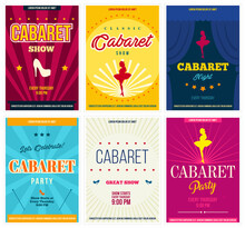 Cabaret Retro Posters Set, Vector Illustration. Flyers And Ads For Cabaret Show Promotion In Vintage Style
