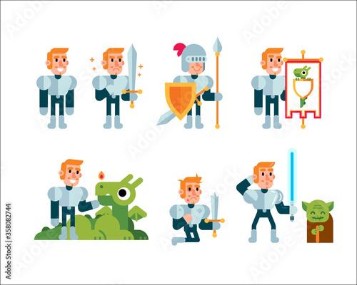 Fotografie, Obraz Fantasy Fairy Tale Clipart Knight mascot