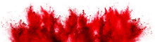 Bright Red Holi Paint Color Powder Festival Explosion Isolated White Background. Industrial Print Concept Background