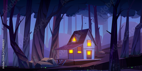 Fotomural Wooden stilt house in night forest