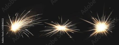 Obraz Weld sparks isolated on black background. Vector realistic flare effect of metal welding, iron cutting, fireworks or electric flash. Set of light flashes of industrial works with steel or firecrackers - fototapety do salonu