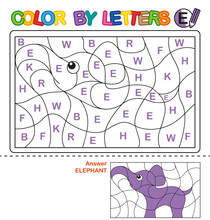 ABC Coloring Book For Children. Color By Letters. Learning The Capital Letters Of The Alphabet. Puzzle For Children. Letter E. Elephant
