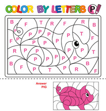 ABC Coloring Book For Children. Color By Letters. Learning The Capital Letters Of The Alphabet. Puzzle For Children. Letter P. Pig