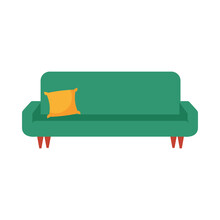 Isolated Couch With Pillow Vec...