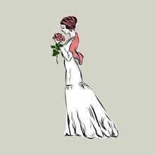 Vintage Woman In Elegance Styl...