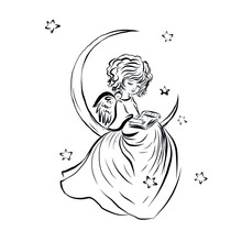 Angel Baby Reads Book Sitting On The Moon. Coloring Book With Symbol Of God Of Man. Happy Baby. Concept Of Resurrection Of Jesus Christ. Christmas, Easter Design.