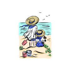 Kids On Beach In Straw Hats Who Protecting From Sun. Joyful Childhood Moment Summer Vacation. Couple On Seashore. Items For Playing In The Sand. Brother And Sister Or Friends Look At Horizon.