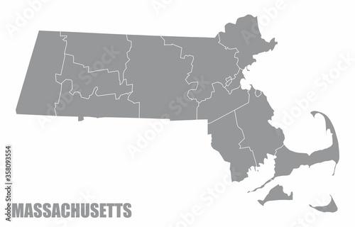 Obraz na plátně Massachusetts County Map