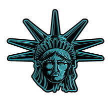 Head Of Statue Of Liberty Color Vector Illustration. Independence Day, Memorial Day, Symbol Of America.