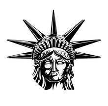 Head Of Statue Of Liberty Vector Illustration. Independence Day, Symbol Of America.
