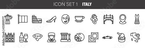 Canvas-taulu Italy icons set