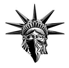 Statue Of Liberty Head With Bandana On Face. Vector Illustration Symbol Of America