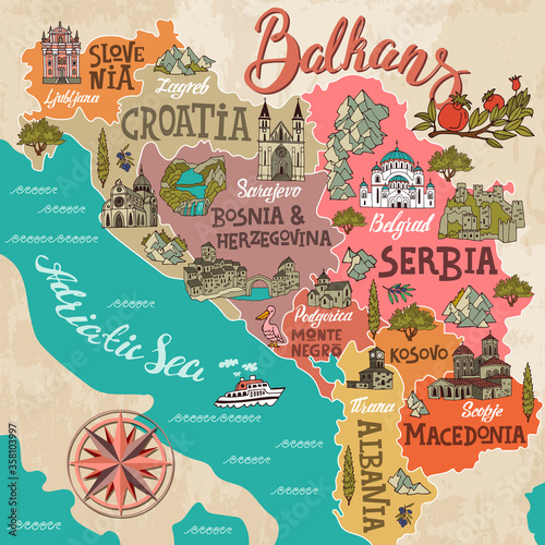 Fototapeta Cartoon map of Balkans. Travel and attractions of Eastern Europe