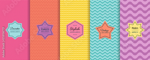 Fototapeta Vector wave seamless patterns collection. Set of colorful background swatches with elegant minimal labels. Abstract textures with wavy lines, curves. Pink, orange, yellow, turquoise, purple color obraz
