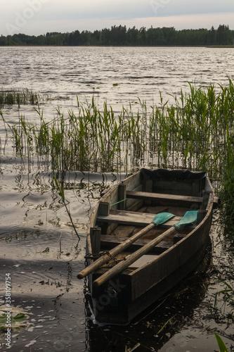 details of old wooden boat