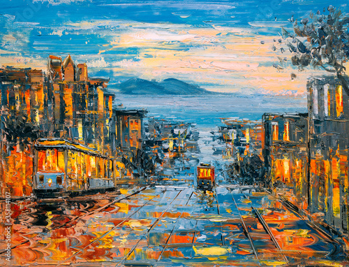 Obraz Oil Painting - Cable Car, San Francisco - fototapety do salonu