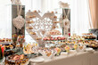 canvas print picture - Sweet cakes at a wedding buffet. Catering