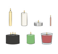 Candle Simple Illustrated Set. Vector Candles: Long Stick, Jar, Pillar Candle, Container Candle, Tealight, Multi Wick, Party Candle. Isolated Graphic Illustration.