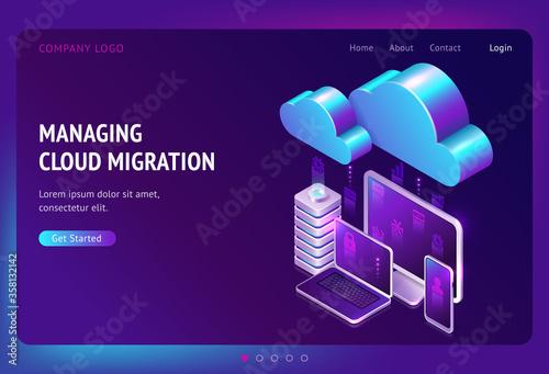 Obraz na plátně Digital data migration isometric landing page, cloud computing, media server, sa
