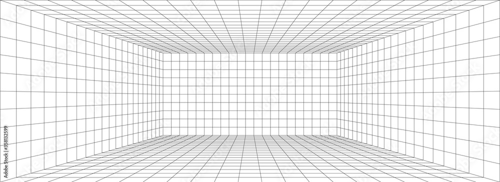 Fototapeta Room perspective grid background 3d Vector illustration. Model projection background template. Line one point perspective
