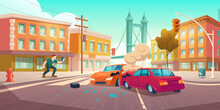 Man Shoots Car Crash On Smartphone. Auto Accident On Crossroad On City Street. Vector Cartoon Cityscape With Buildings, Road, Broken Cars, Smoke And Shocked Witness