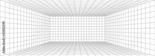 Photo Room perspective grid background 3d Vector illustration