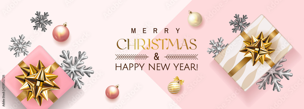 Fototapeta White and pink Merry Christmas and Happy New Year Holiday soft banner illustration with realistic vector 3d objects, Christmas ball, pink and gold gift box with gold bow and Christmas bulb garland