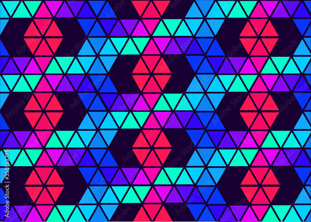Fototapeta pattern, polygons in rainbow colors, bright pattern for wallpaper, wrapping, banner, flyer in blue, green purple, red colors