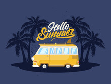 Summer Retro Van With Palm Tree And Surf. Illustration For T-shirt Print. Vector Fashion Illustration