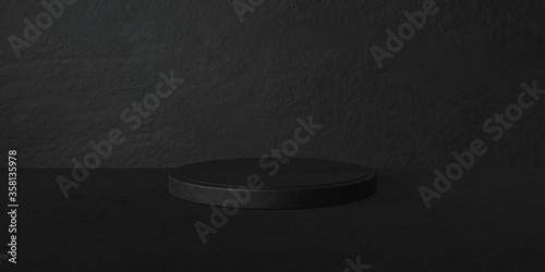 Photo Espositore vuoto circolare nero su fondo nero pietra, podio o piedistallo per es