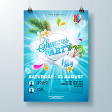 Summer Pool Party Poster Design Template With Palm Leaves, Water And Beach Ball On Blue Underwater Ocean Background. Vector Holiday Illustration For Banner, Flyer, Invitation, Poster.