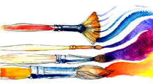 Watercolor Brushes On White Ba...