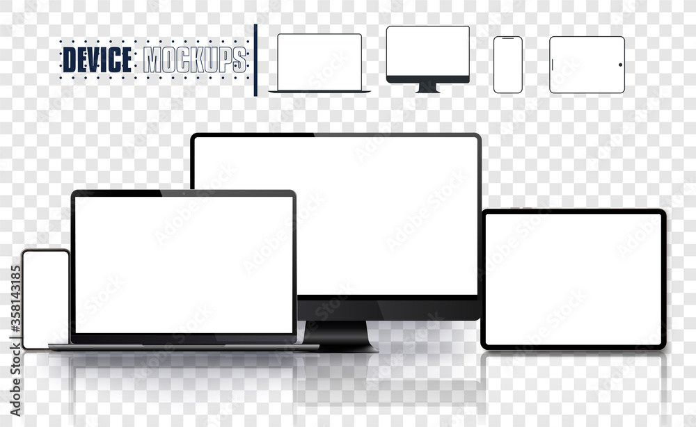 Fototapeta Realistic device set: pc, monitor laptop, tablet and phone template. Electronic and devices related line icon set. Vector illustration
