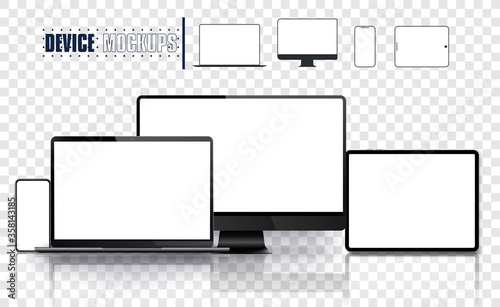 Fotomural Realistic device set: pc, monitor laptop, tablet and phone template