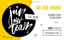 Join Our Team Black And Yellow Banner Template Vector Illustration. Sample Of Website Page For Finding Job And Sending Cv, Candidate Resume. Web With Button And Text