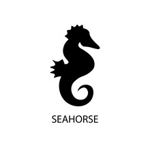 Seahorse Black Sign Icon. Vect...