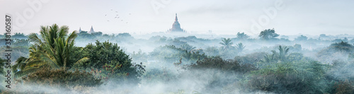 Morning mist over the old temples in Bagan, Mandalay Region, Myanmar - 358160587
