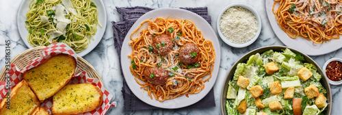 Fototapeta italian pasta with spaghetti and meatballs obraz