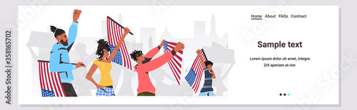 african american people holding usa flags and banners black lives matter campaig Poster Mural XXL