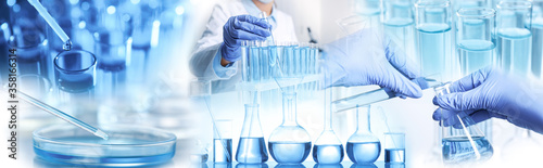 Fototapeta Multiple exposure of scientists doing sample analysis and laboratory glassware, banner design obraz