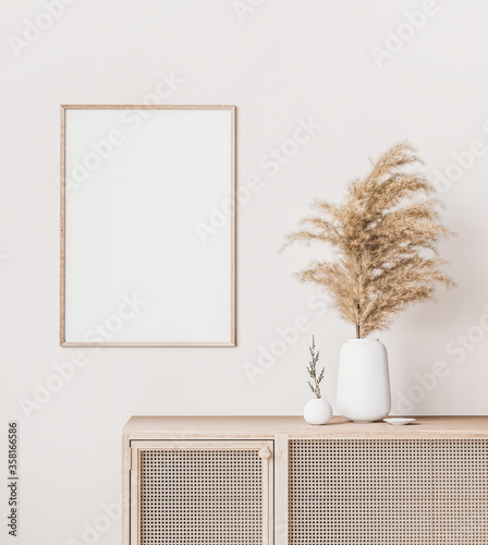 Fototapeta Close up for interior poster mock up in white background with pampas grass in white vase, 3d render obraz