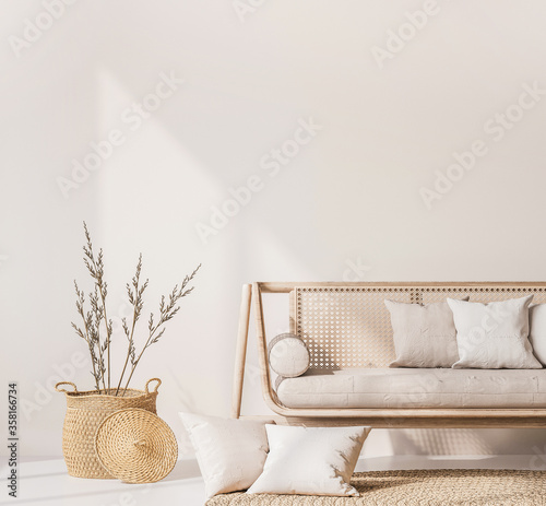 Fotografia Close up for modern living room interior with natural wooden furniture, rattan basket and trendy carpet