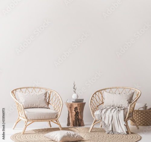 Photo Mock up wall in home interior background, bright beige room with natural wooden