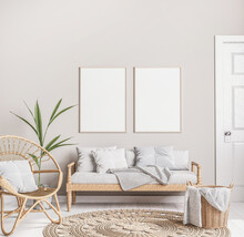 Mock Up Frame In Trendy Farmhouse Interior With Wider Furniture, Rattan Armchair, And Green Plant On Beige Background Design