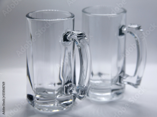 Beer mug, utensil or glass container similar to a glass but with handle, widely Canvas Print