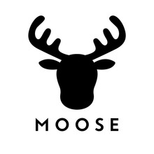 Vector Illustration Of A Moose Head Silhouette Logo Design Concept.