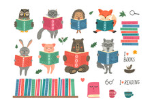Animals Reading Book. Set From...