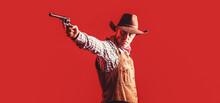 Western Man With Hat. Portrait Of Farmer Or Cowboy In Hat. American Farmer. Portrait Of Man Wearing Cowboy Hat, Gun. Portrait Of A Cowboy. West, Guns. Portrait Of A Cowboy